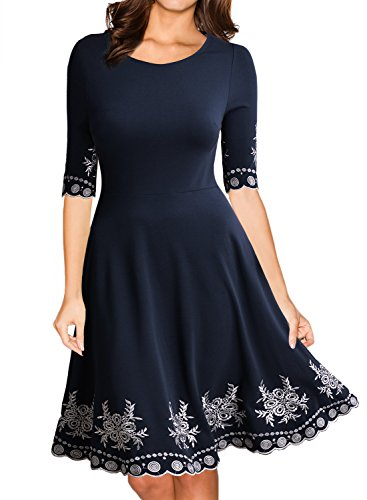 Miusol Women's Vintage Scoop Neck Embroidered Half Sleeve Casual Swing Dress, Navy Blue, XX-Large