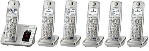 Panasonic KX-TGE263S + 3 KX-TGEA20S Handsets (6 Handsets Total) Bluetooth Cordless Phone System (KX-TGE260S + 5 - KX-TGE262S + 4 - KX-TGE263S + 3) (Certified Refurbished)
