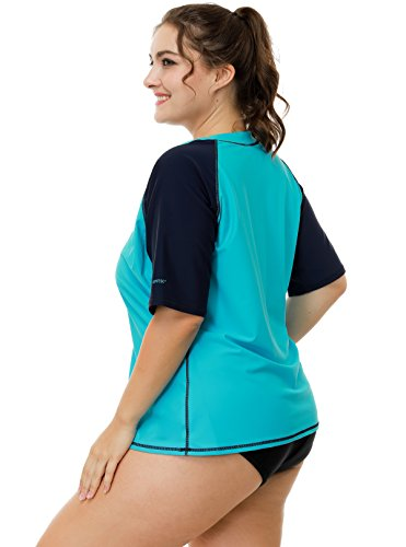 4de662e1840 Attraco womens short sleeve rashguard plus size uv active swim shirts spf 50  1x, Aqua