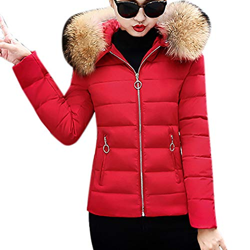 ThePass Womens Down Jackets Slim Hooded Fur Collar Winter Warm Short Cotton-Padded Coats
