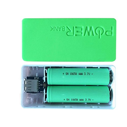 Creazy 5600mAh 2X 18650 USB Power Bank Battery Charger Case DIY Box For iPhone Sumsang (Green)
