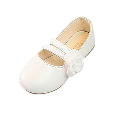 5def9a7303fa5 Chaussures Princesse de Fleurs de Couleur Unie Chaussures de Princesse Plat  Mocassins Fille pour Fête Fille