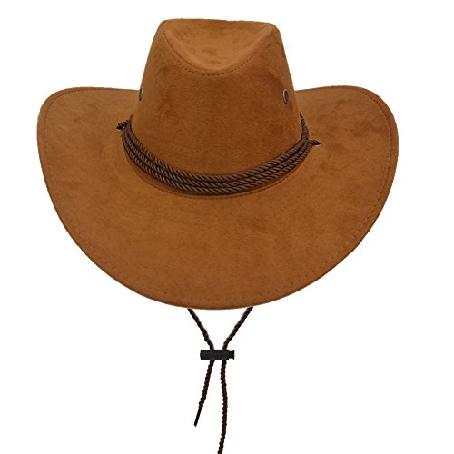 Yosang Adult Western Suede Hat Cowboy Outdoorsman Hat Travelling Summer Cap Brown