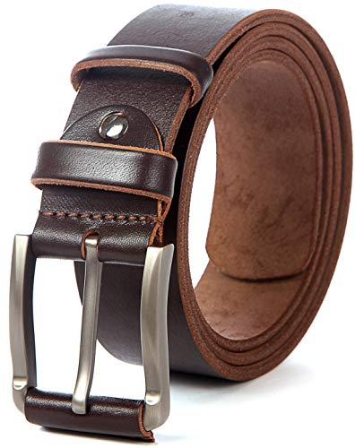 (Men Leather Belt Solid Full Grain Leather Allergy Free Buckle 1.5 inch 10 oz Strap (M-112cm>33-37