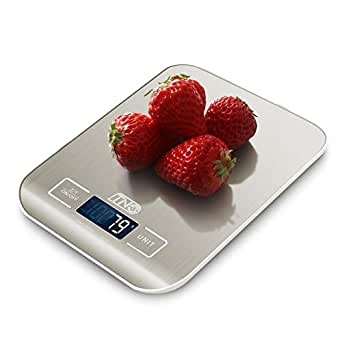 Digital Food Scale, 11 lb TNO Kitchen Scale with 1g / 0.03oz Precise Graduation, LCD Display Scale for Cooking/Baking in KG, G, oz, lb, ml and Milk ml, Stainless Steel Silver (Batteries Included)