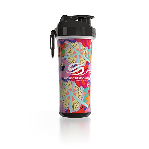 SmartShake Double Wall Bottle, 25 oz Shaker Cup, Flower Power