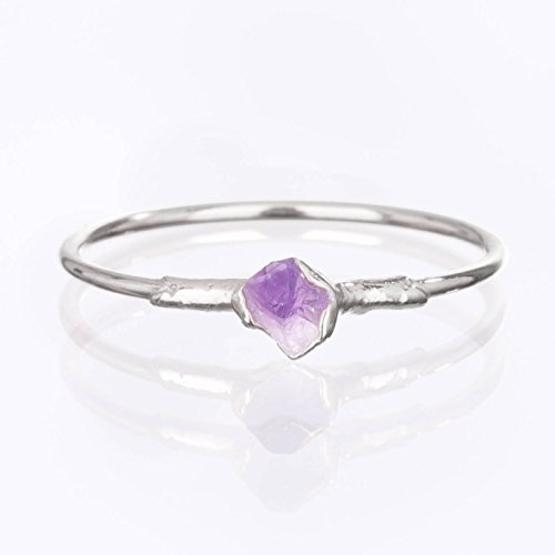 Raw Amethyst Ring, Sterling Silver, Size 6 Mini Stacking Ring, February Birthstone