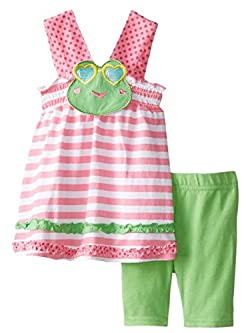 Nannette Infant Toddler Girls 2 Piece Frog Outfit with Striped Shirt Shorts