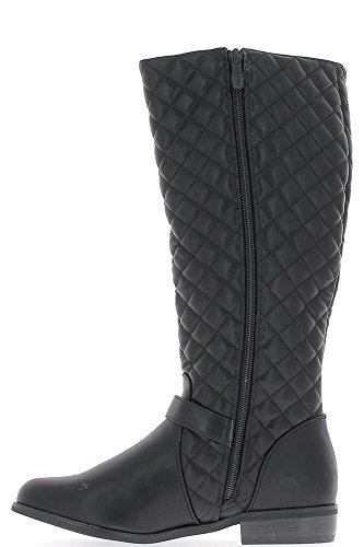 Stivali donne nere farcite trapuntato a tacco 3cm