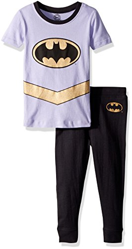 DC Comics Girls' Toddler Batgirl 'Batman Gold Logo' Pajama Set, Multi, 2T