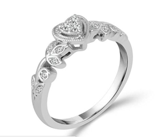 10K White Gold Heart Ring Vintage Style Promise Engagement Ring 1/10ctw Diamond Vines Style by Midwest Jewellery (Image #1)