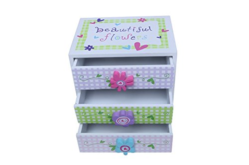 Kids Jewelry Box - Colorful Flower Compartment Drawer - Small Square Accessories Box , Great for a Christmas, Secret Santa Gift, 6 x 4.5 x 6 Inches