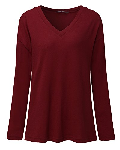 Casual Bordeaux Manches Longues Pull Femme Tops Col V Blouse Cnfio Shirt Zwqn7P606