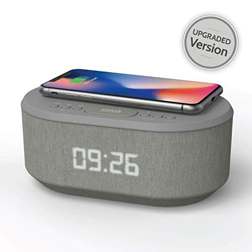Bedside Radio Alarm Clock with USB Charger, Bluetooth Speaker, QI Wireless Charging, Dual Alarm  Dimmable LED Display (Grey) reviews
