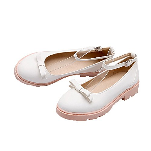 Odomolor Women's Solid PU Low-Heels Buckle Round-Toe Pumps-Shoes, White, 35