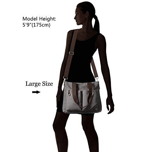 ToLFE Women Top Handle Satchel Handbags Tote Purse Shoulder Bag (Khaki-(Large)) by ToLFE (Image #7)