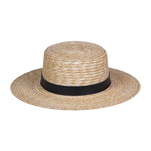 Lack of Color Women's Spencer Leather Banded Straw Boater Sun Hat (Charcoal/Natural, Small (55cm)) - Natural Color Straw