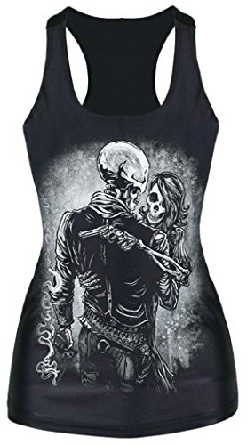 [IF FEEL Awesome Monochrome Skull Bride Vest 3D Print Tank Top Long Waistcoat (one size, Black)] (Realistic Animatronic Dinosaur Costume)