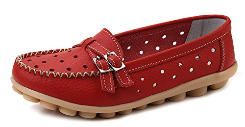 Out Flats Women's Loafer Red Buckle Aisun Chic Two Hollow UqfxxBRn