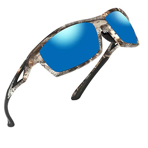 (Polarized Sports Sunglasses for Men and Women - Unbreakable TR90 Frame for Cycling Baseball Running Driving Sun Glasses (Camo Frame Blue Lens, 2.36))