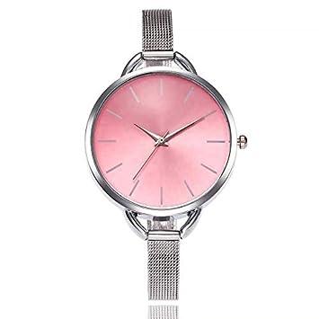 HTRHHG Reloj de Correa de Banda de Acero Inoxidable de Cuarzo Casual analógico Reloj de Pulsera