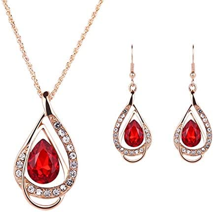 Women Rhinestone Waterdrop Heart Pendant Wedding Necklace DIY Jewelry Sets Gift