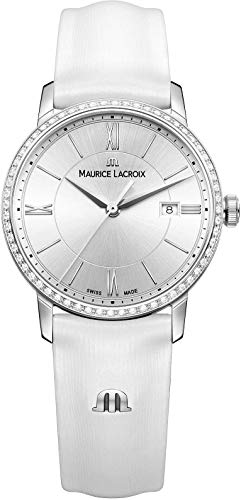 Maurice Lacroix Women's Eliros Stainless Steel Swiss-Quartz Watch with Leather Calfskin Strap, White, 16 (Model: EL1094-SD501-110-1