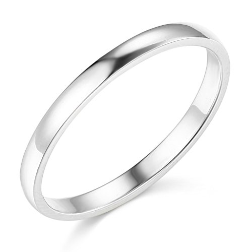 14k White Gold 2mm SOLID COMFORT FIT Plain Wedding Band - Size 5