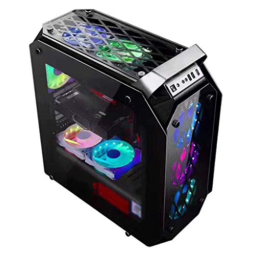 Gaming Computer PC Case For Desktop Computer PC Desktop computer mainframe, high-end portable, all transparent tempered glass, game water-cooled case, power supply mainframe case, back line window typ