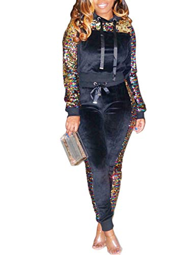 Akmipoem Womens Velour Tracksuit Set Sequin 2 Piece Outfit Long Sleeve Hoodie and Pants Sweatsuit