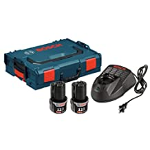 Bosch SKC120-202L 12-Volt Max Lithium-Ion Starter Kit with 2 Batteries, Charger and L-BOXX-1