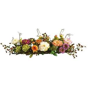Nearly Natural 4665 Peony Centerpiece Silk Flower Arrangement, Mixed 111