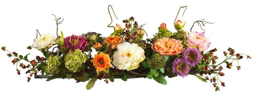 Nearly Natural 4665 Peony Centerpiece Silk Flower Arrangement, Mixed (Dining Room Arrangements Floral)