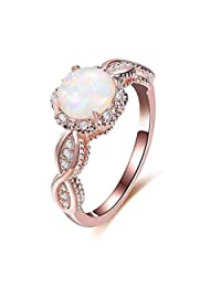 JONERISE 14K Rose Gold Opal Ring Wedding Filled Engagement Promise Rings for Women