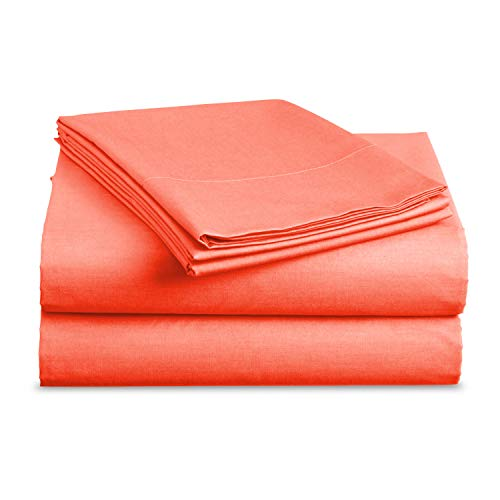 Luxe Bedding Sets - Microfiber Full Sheet Set 4 Piece Bed Sheets, Pillow Cases, Flat Sheet, Deep Pocket Fitted Sheet Set Full Size - Bright Coral (Coral Sheets Bed Full)