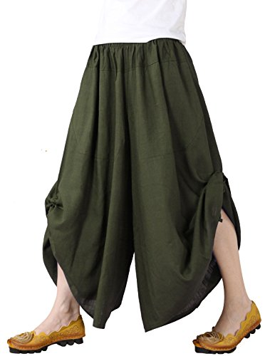 Mordenmiss Women's New Elastic Waist Wide Leg Pants with Pockets (M, Army Green)