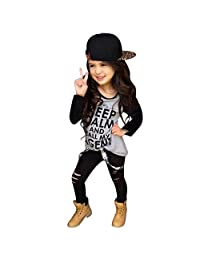 Susenstone Toddler Girls Outfit Clothes Print T-shirt Tops+Long Pants Trousers