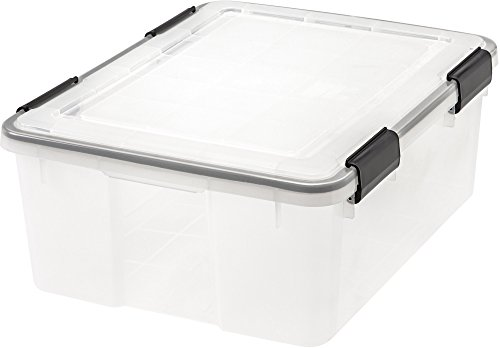 IRIS  Weathertight Storage Box, 30 Quart - Clear
