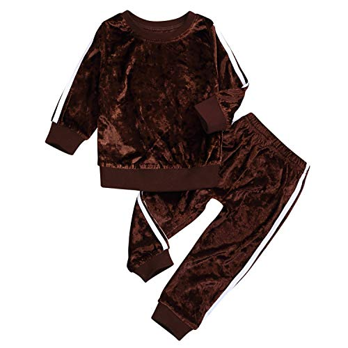 YOUNGER TREE 2PCS Toddler Kids Baby Girls Velvet Clothes Outfit Pants Set Autumn Winter Costumes (Caramel, 4/5T) (Velvet Tree)