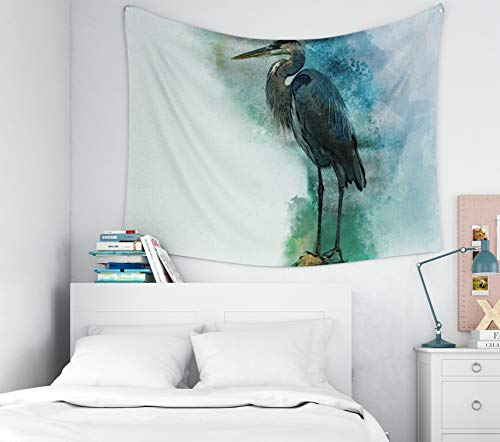 Douecish Wall Tapestry Hanging, Decoration Watercolor Heron Watercolor owl Perfect Greeting Card Print for Bedroom Living Room Decor Wall Hanging Tapestry 60X50 - Hanging Wall Heron