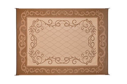 Cheap  Reversible Mats 6-Feet x 9-Feet Brown & Beige Patio Garden Mat with..