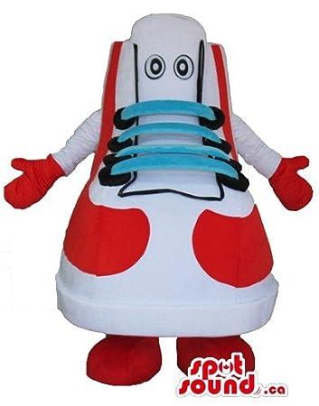 赤と白のスニーカーはブルー靴ひも、黒い目、赤、腕