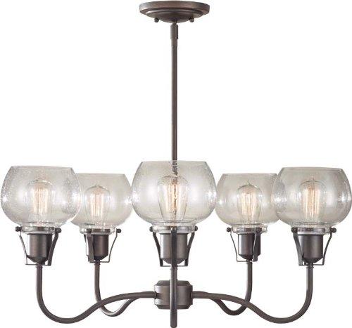 - Feiss F2824/5RI Urban Renewal Glass Industrial Vintage Chandelier Lighting, Iron, 5-Light (27