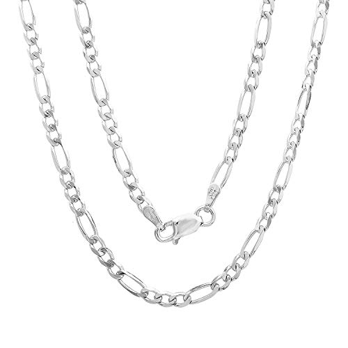 "Authentic Solid Sterling Silver Figaro Link .925 ITProLux Necklace or Bracelet Chains 3MM 4MM 5MM 6MM 7MM 7.5MM 8.5MM 10.5MM, 16"" - 30"", 8""- 9"", Made In Italy, Men & Women, Next Level Jewelry"