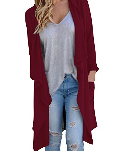 StyleDome Women's Cardigans Long Sleeve Knitted Open Front Trench Coat Outwear Wine Red L - Waterfall Wine