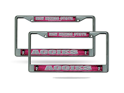 New Mexico State Aggies NCAA Chrome Metal (2) License Plate Frame Set