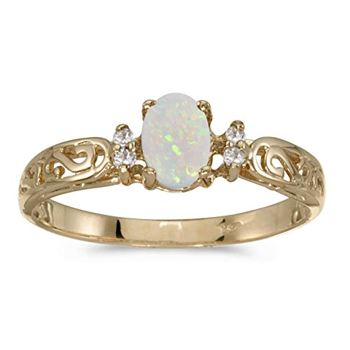 0.23 Carat ctw 10k Gold Oval Opal Solitaire and Diamond Swirl Victorian Promise Fashion Ring 1/5 CT - Yellow-gold, Size 9 14k Yellow Gold Victorian Antique