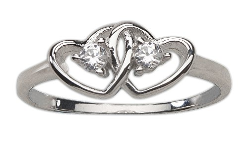 Sterling Silver Double Heart Baby Ring for Girls with Clear CZ's Double Heart Baby Ring