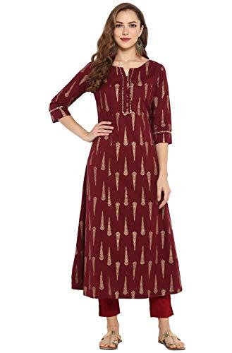 Janasya Indian Tunic Tops Cotton Kurti for Women (JNE3030-KR-S) Red