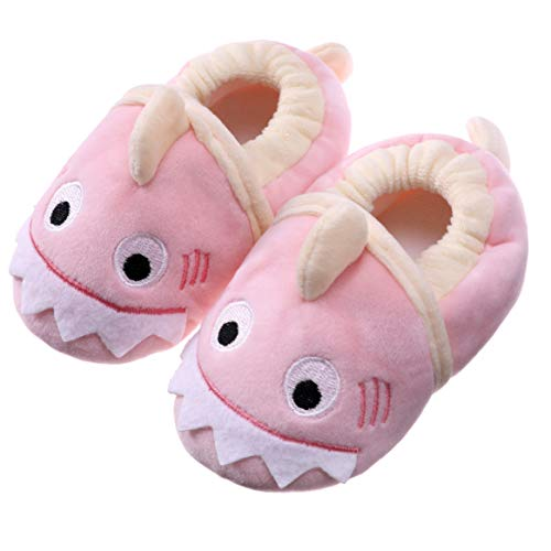 SDBING Toddler Baby Boys Girls Cute Cartoon Shark Shoes Soft Anti-slip Winter Home Slippers 6-24 Months (12-18 Months, Cute Shark Pink) by SDBING